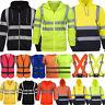 Hi Vis Viz Safety Hoodie Men Visibility Work Hooded Zipper Jacket Vest Coat Tops