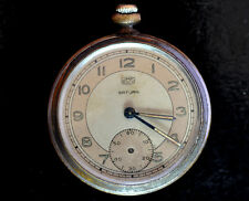 WWII Antique German Military Pocket Watch UMF Ruhla Saturn Open Face for repair