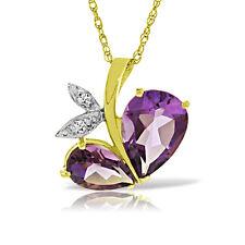 Genuine Amethyst Purple Gemstone Diamond 14K Solid Gold Necklace Pendant