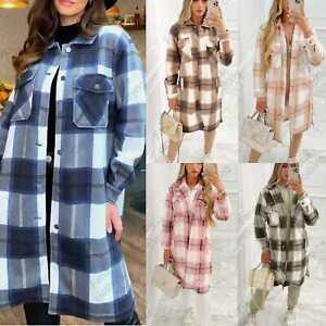 Womens Plaid Fleece Shacket Overcoat Ladies Casual Baggy Button Longline Jackets
