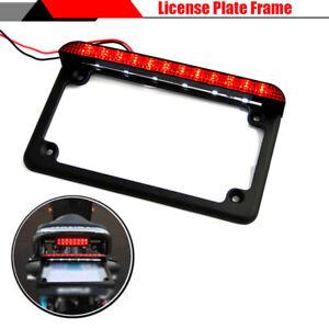 US Style License Plate Frame Holder Bright Red LED Brake Light For Motorcycle