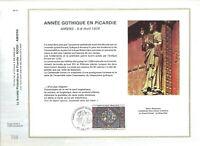 FEUILLET PHILATELIQUE ANNEE GOTHIQUE EN PICARDIE  AMIENS DU 05 AU 06 1975