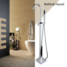 Modern Floor Mount Free-standing Bath Tub Filler Faucet Set with Handheld Spary
