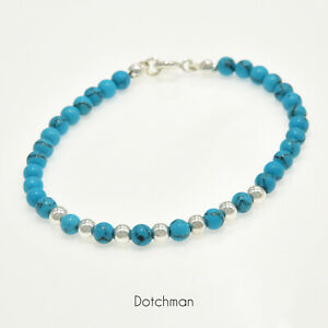 Sterling Silver Bracelet With Reconstituted Turquoise Beads