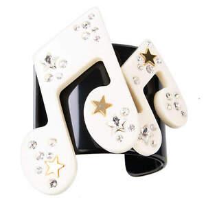 DOLCE & GABBANA RUNWAY Stelle Star Music Crystals Bracelet Gold White 07930