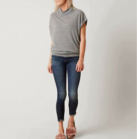 Free People Womens Madeline OB614757 Top Relaxed Grey Size XS