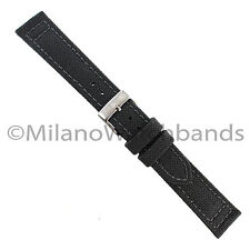 20mm Hadley Roma Gray Genuine Cordura Canvas Padded Stitched Mens Watch Band 850