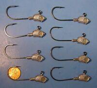 8 JEWEL Bait Co 3/8 oz Bucktail Jig Heads 4/0 Black Nickel Mustad Ultra Point