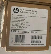 "New HP Artist Matte Canvas Paper Roll, 24"" x 50 ft, 18 mil, White B5E92A"