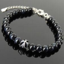 Men's Women Bracelet Blue Tiger Eye Sterling Silver Cross Bead Clasp Link 1307
