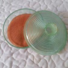 Vintage Fosta Products Green Plastic Lid Small Round Make Up Dish Vanity Decor