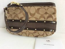 Authentic New Coach Signature Brown Sateen Striped Studded Wristlet F48114