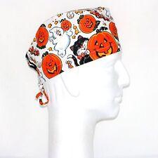 Halloween Pumpkin & Cat Theme Scrub Hat