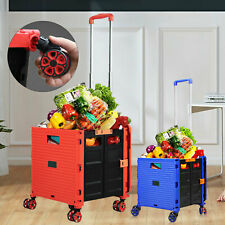 Folding Shopping Cart Rolling Trolley Portable F/ Grocery Laundry Travel 6cm New