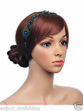 New Women Lady Elegant Beading Peacock Feather Handband Hairband Hair Head Band