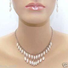 Parure de perles Collier, boucles d'oreilles Violet Blanc Gris, bijoux fantaisie