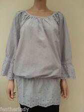 LA REDOUTE ELLOS FRESH SPIRIT GREY broiderie anglaise blouse top tunic UK 20