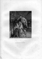 Stampa antica LA PREGHIERA DEL MATTINO 1852 Old Print Engraving