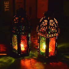 Vintage Indian Moroccan Iron Tonal Glass Lantern Tea Light Holder Home & Garden