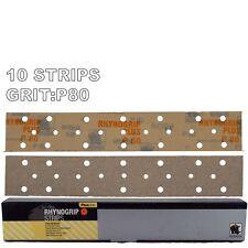 10 x Indasa Rhynogrip 70x420mm Hook-It Grip Sanding Strips P80 Grit Abrasive
