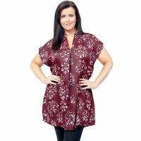 New Plus Size Womens Burgundy Kaftan Top Tunic Ladies Blouse 18 - 32