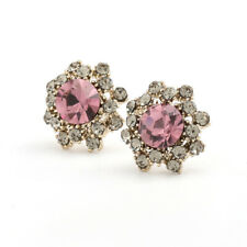 Crystal With Clear Cz Earrings Classic Gold Tone Stud Round Pink