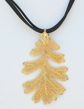 Collar gold plated leaf with leather stripes 40 cm long HANDMADE