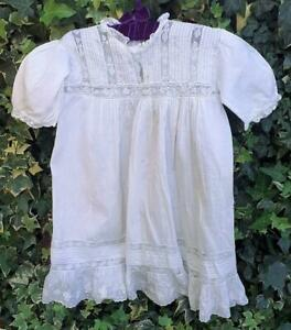 Lovely Antique Fine Cotton Voile Baby Dress For Your Antique Baby Character Doll
