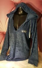 Victoria Secret PINK Hoodie Terry Split Neck Sweatshirt Varsity Tunic Blue NWT M