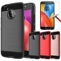 For Motorola Moto E4 Shockproof Rubber Slim Case+Tempered Glass Screen Protector