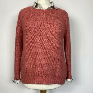 Per Una M&S Cottage Core Coral Pink Jumper with Underlay Floral Shirt Size 16