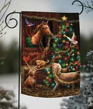 NEW Toland - Christmas Barn - Barnyard Animal Horse Dog Cat Tree Garden Flag