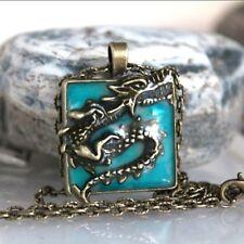 Dragon Necklace Pendant Glow Dark Luminous Locket Magic Moon Steampunk Jewels Us