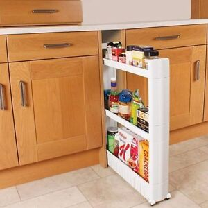 Slide out kitchen trolley rack holder slim storage 3 shelf organiser on wheels