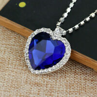 Women Heart of The Ocean Sapphire Blue CZ Crystal Silver Plated Necklace Jewelry