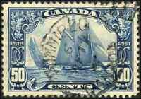 Canada #158 used VF 1929 Scroll Issue 50c dark blue Bluenose SON CDS CV$100.00