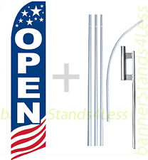 OPEN - Swooper Flag 15' Kit Feather Flutter Banner Sign - stars stripes USA bb