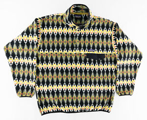 Patagonia Mens Large Synchilla Snap T Pullover Fleece Jacket Aztec Tribal