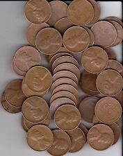 1953D Wheat Pennies, Full roll of 50 pennies Very Nice Coins all readable dates.