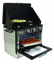 BBQ Kitchen Range Oven Stove Propane Gas 2 Burners Racks Camping Outdoor Bake