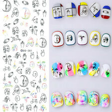 Nail Art Water Transfer Decal Manicure Sticker Abstract Hand-painted Design DIY