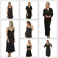 Ladies Black Long Satin Chemise PJs Pyjamas Set Nightdress Size 8 - 34 plus size