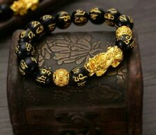 ❤Feng Shui New Age Wealth Obsidian Good Luck Bracelet Golden Pixiu & Scripture❤