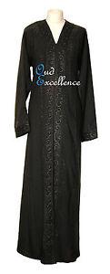 Black Open Nidha Abaya with Black Diamante - Jilbab Batwing Kaftan Dress Kimono