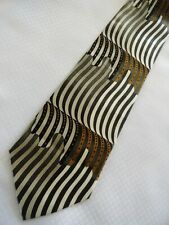 Henri Picard Silk Necktie Striped Modern Optical Illusion Browns Tan Gray Black