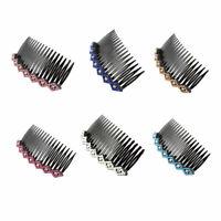 Women Lady Plastic Rhinestone Hair Comb Clip Slide Hairclip 2pcs