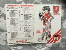 More details for 1981-82 higsons liverpool and everton fc double sided fixture list