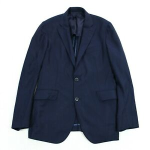 Hackett London Mens Unstructured Hopsack Blazer Sport Coat Navy Blue Size 42L