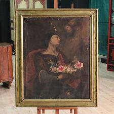 Antico dipinto quadro religioso olio su tela arte sacra cornice dorata 700 XVIII