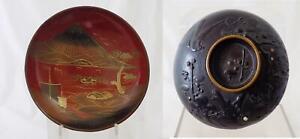 Antique Meiji Era Japanese Teacup Wooden Lacquer Ware Bowl Lidded 1860